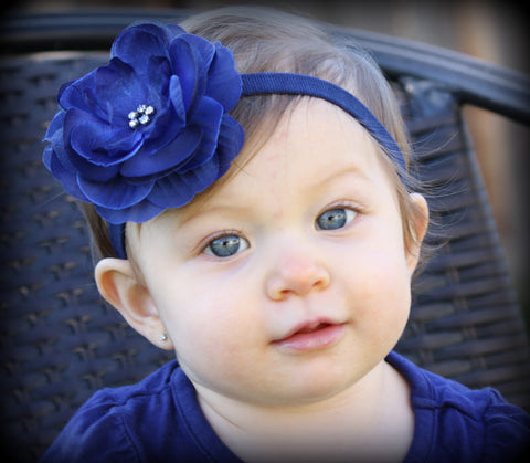 Navy Blue Glamour Flower Clip or Headband
