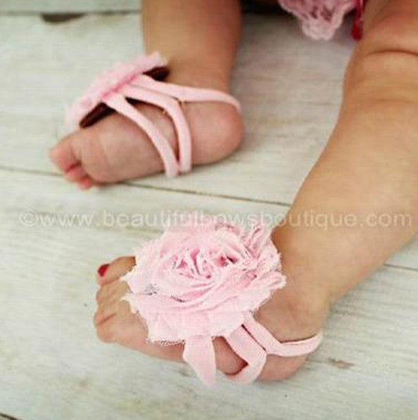 Light Pink Chiffon Fabric Flower Barefoot Baby Sandals