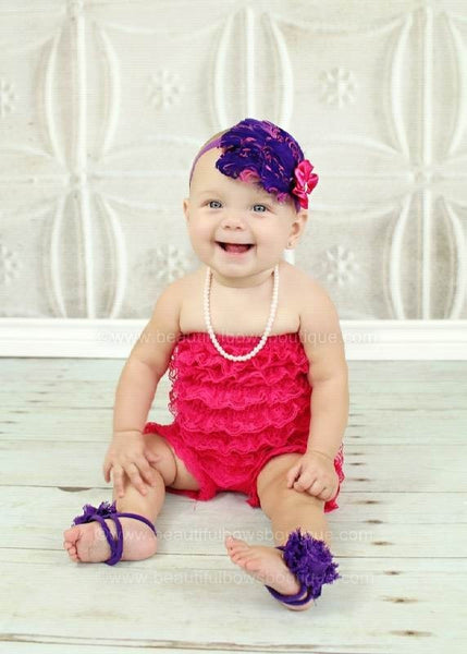 Buy Purple Chiffon Fabric Flower Barefoot Baby Sandals Online