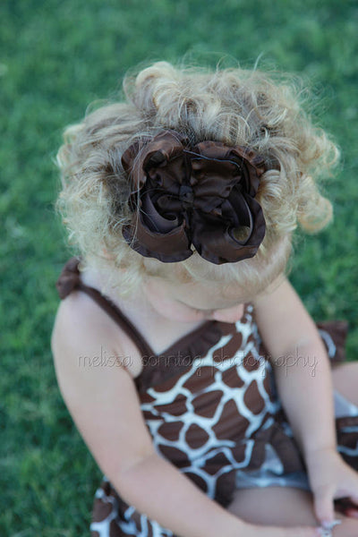 Buy Large Brown Ruffle Hair Bow Baby Girl Headband Online
