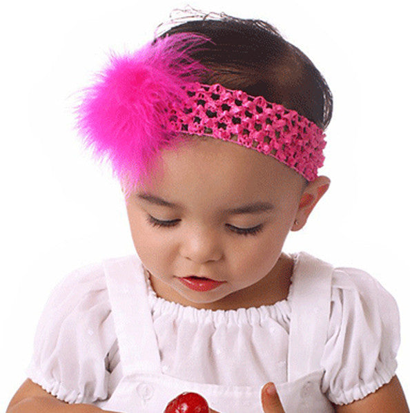 Fluffy Marabou Feather Girls Crochet Headband-CHOOSE COLOR