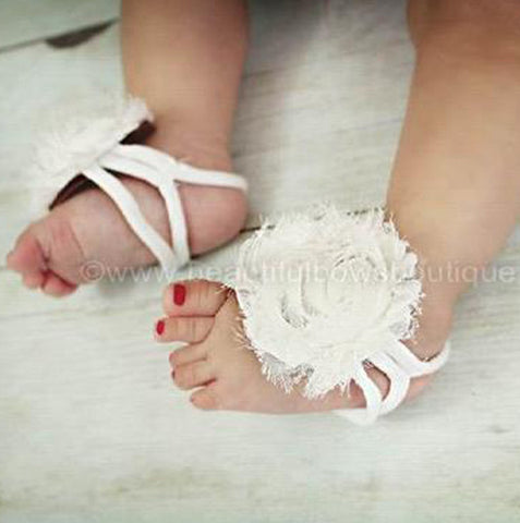White Chiffon Fabric Flower Barefoot Baby Sandals