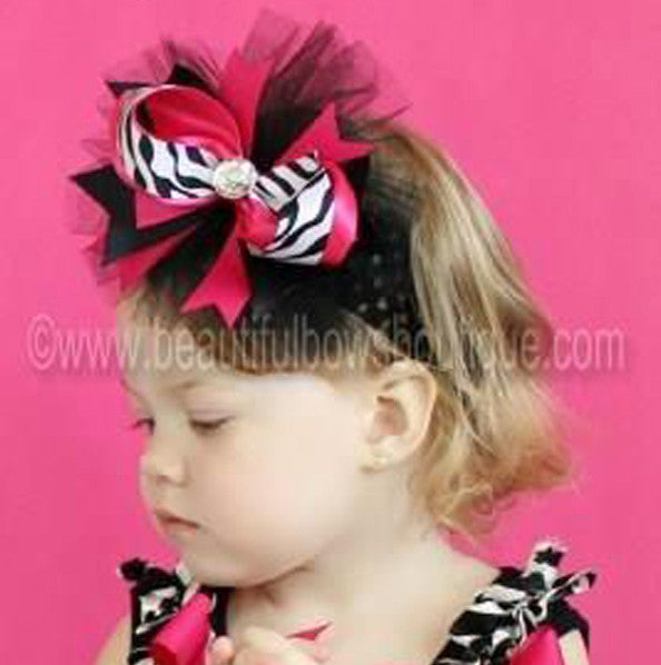 Shocking Pink Zebra Adalynn Girls Hair Bow Clip or Headband