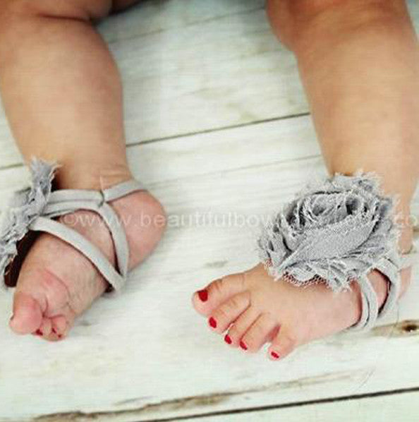 Light Grey Chiffon Fabric Flower Barefoot Baby Sandals