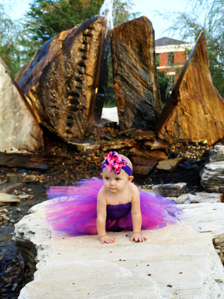 Purple and Hot Pink Crochet Tutu Dress for Infants and Girls
