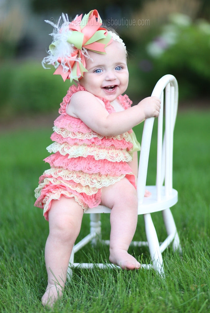23d5acf6205d Buy Girls Coral and Mint Green Baby Romper Online at Beautiful Bows ...