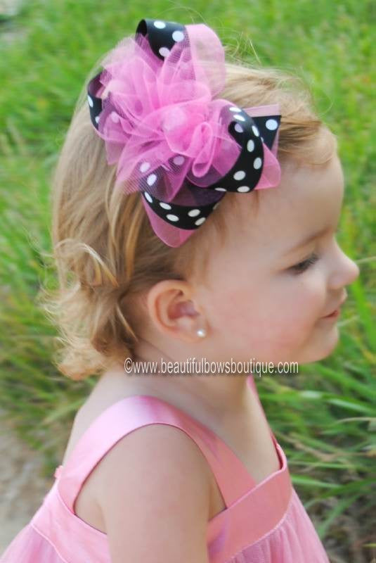 Hot Pink Black Polka Tulle Puff Girls Hair Bow Clip or Headband
