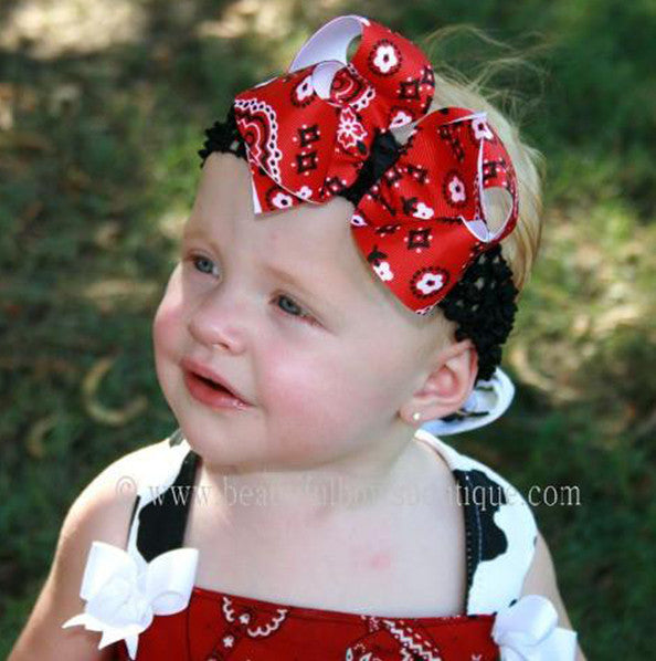 Girls Red Bandana Hair Bow Clip or Baby Headband