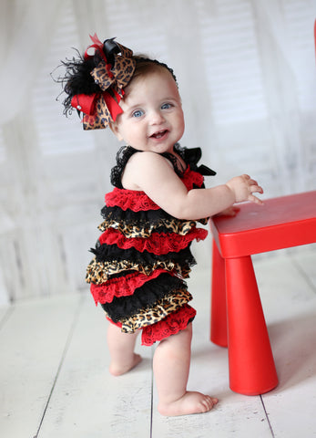 Red and Black Cheetah Romper and Bow Headband Infant Toddler