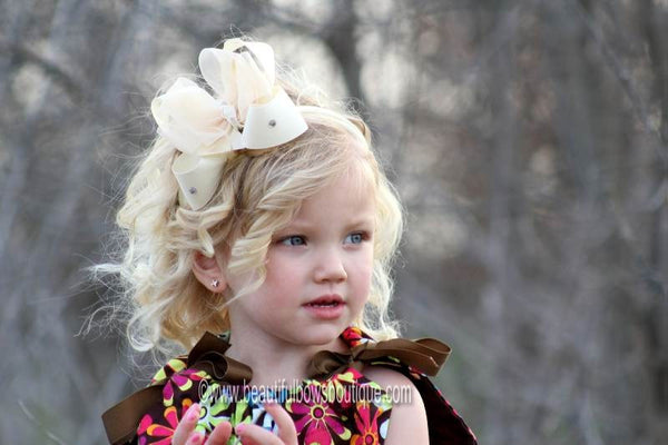 Buy Baby Girl Cream Hair Bow Clip or Headband-CHOOSE COLOR Online