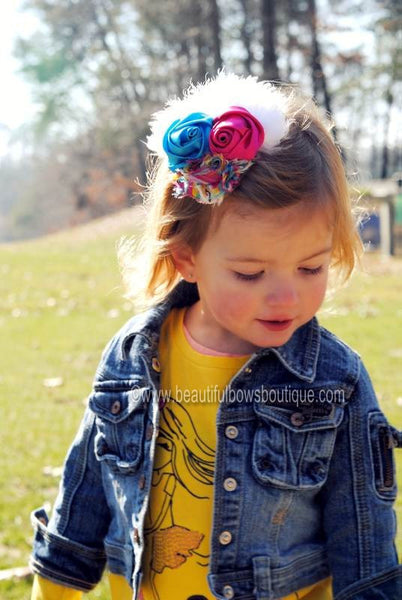 Buy Vintage Rainbow Dazzle Turquoise Hot Pink Yellow Fabric Rosette Feather Hair Clip or Headband Online