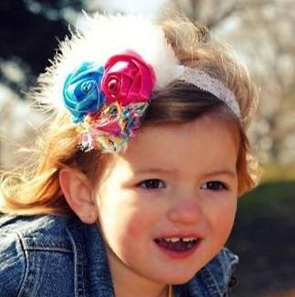Vintage Rainbow Flower Hair Clip, Shabby Flower Headband