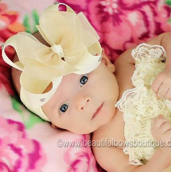 Baby Girl Cream Hair Bow Clip or Headband-CHOOSE COLOR