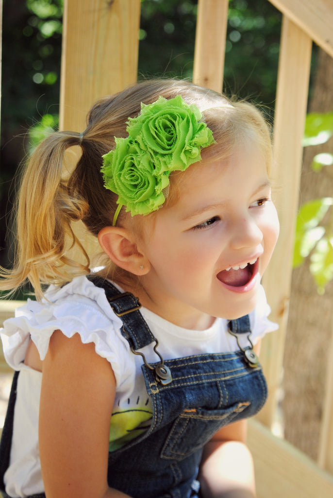 Mia Rose Lime Green Bitty Flower Headband