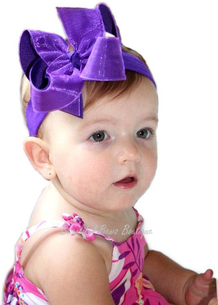 bd0bd47ae Buy Girls Purple Shimmer Baby Hair Bow Headband- CUSTOM Online at Beautiful  Bows Boutique