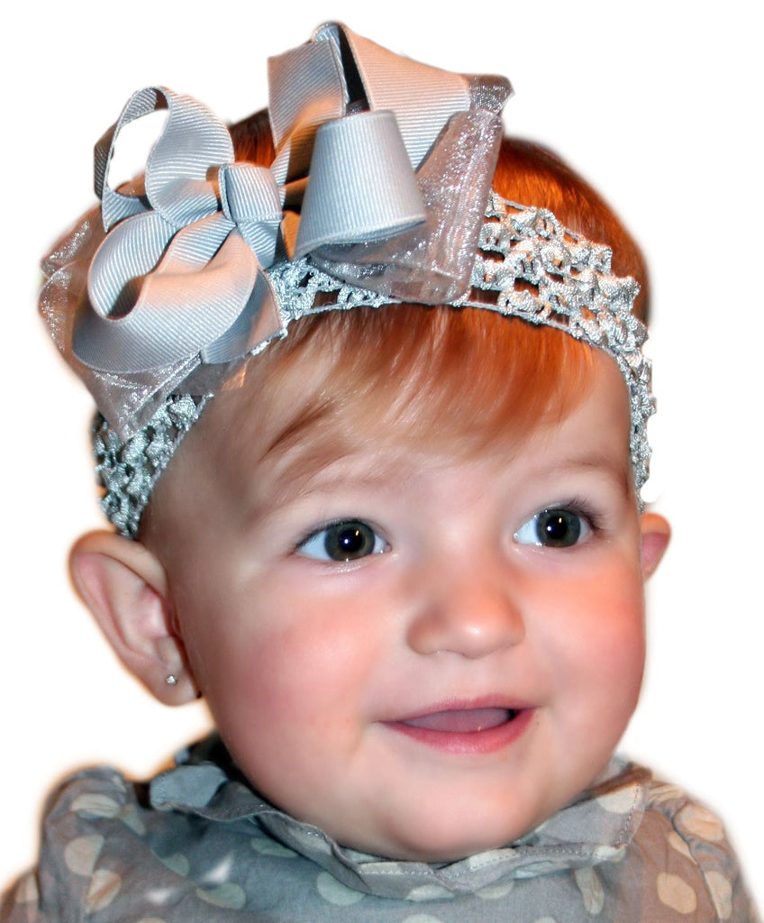 Dainty Dazzling Grey Baby Headband Bow Infant Toddler