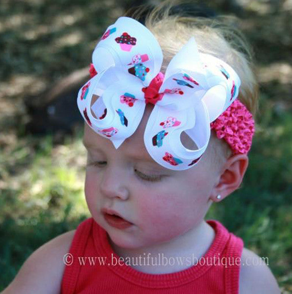 Sweet Cupcake Girls Hair Bow Clip or Headband