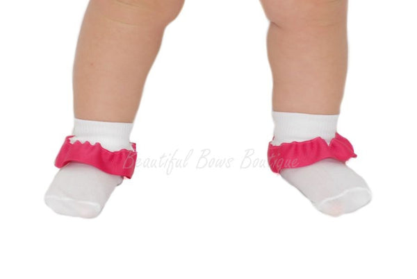 Buy Plain Ribbon Ruffle Baby Socks-CUSTOM COLOR Online
