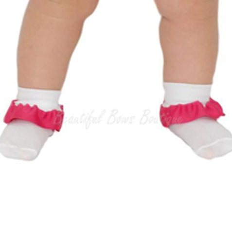Plain Ribbon Ruffle Baby Socks-CUSTOM COLOR