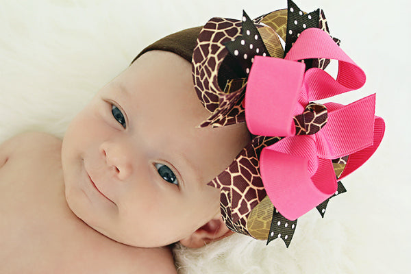 Giraffe Boutique Girls Hair Bow Clip or Headband-CHOOSE COLOR