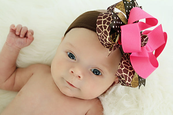 Hot Pink Giraffe Boutique Girls Hair Bow Clip or Headband