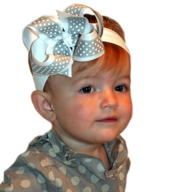 White and Gray Swiss Dot Girls Hair Bow Clip or Headband