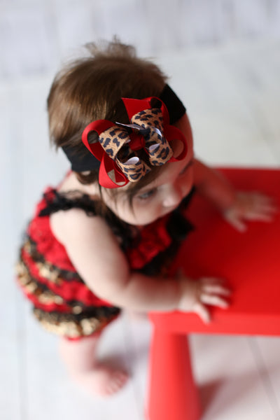Dainty Red Black and Leopard Girls Hair Bow Clip or Headband