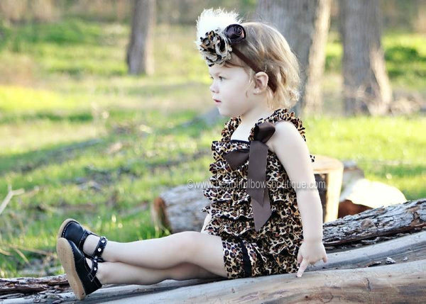 Buy Dazzling Feather Leopard Satin Flower Baby Headband Online