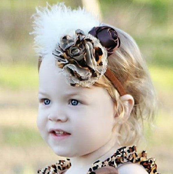 Dazzling Feather Leopard Satin Flower Baby Headband