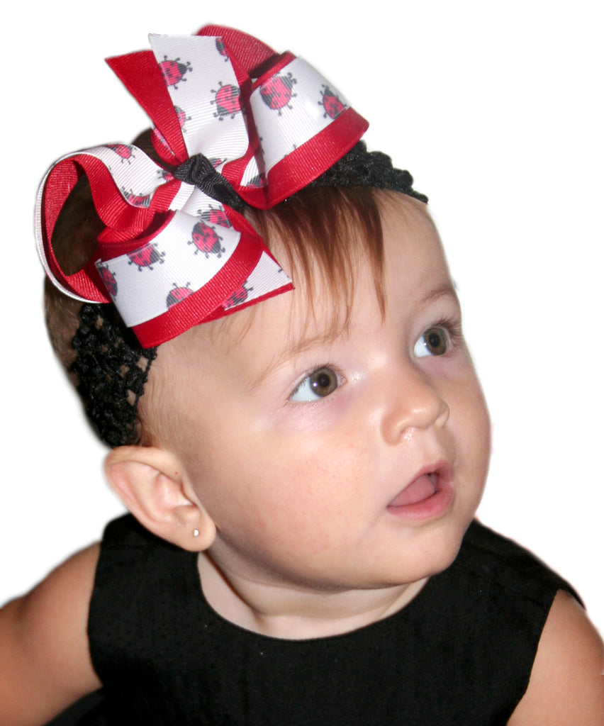 Cute Lady bug Hairbow or Baby Headband