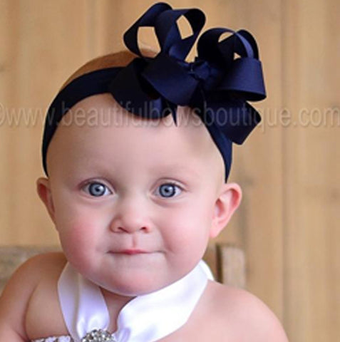 Navy Blue Double Boutique Girls Hair Bow Clip or Headband