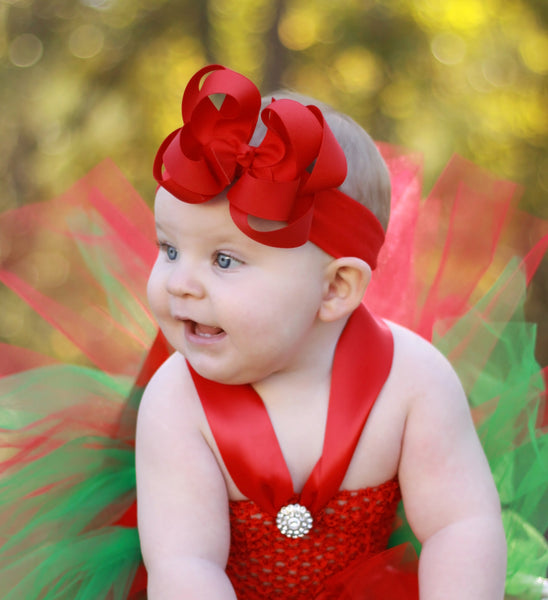 Red Baby Bow Headband, Christmas Red Hair Bow