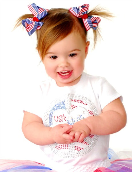 Flag Pigtail Bow Set Infant Toddler Girl-Choose Color