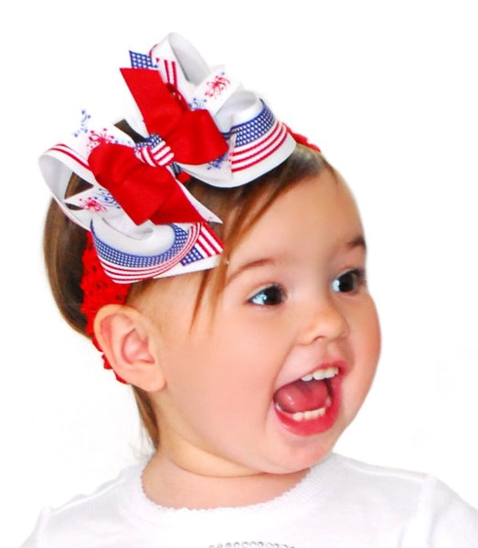 Buy USA Patriotic Flag Girls Hair Bow Clip or Headband Online