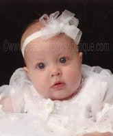 Small Organza White Bow Baby Headband