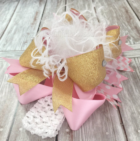 33842804e758f Buy Big White Pink Gold Boutique Hair Bow Headband for Babies Online at  Beautiful Bows Boutique