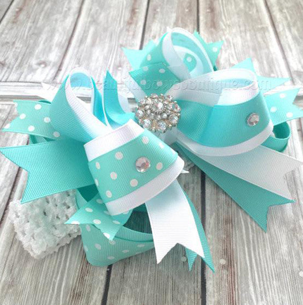 Buy Large Fancy Aqua Hair Bow Headband For Babies Online