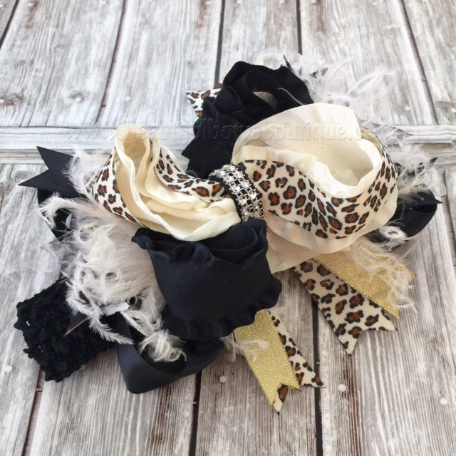 Buy Big Boutique Leopard Hair Bow Baby Headband Online