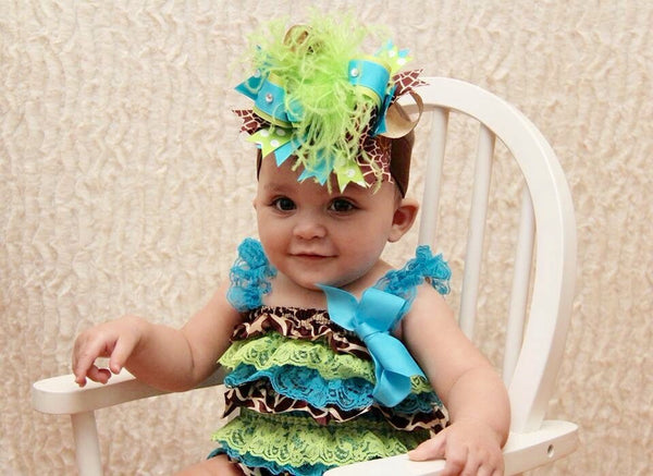 Big Turquoise Green Giraffe Over The Top Hair Bow Headband
