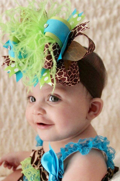Buy Big Turquoise Green Giraffe Over The Top Hair Bow Headband Online