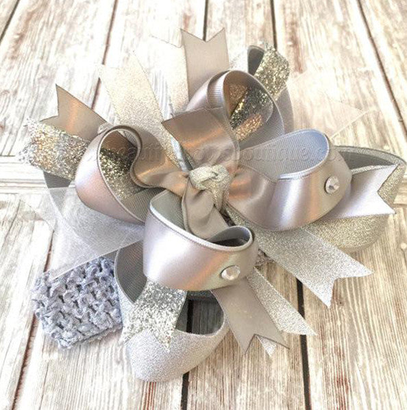 Fancy Large Metallic Silver Girls Hair Bow Clip or Headband