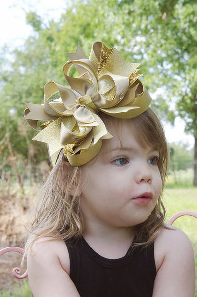 Fancy Large Metallic Gold Girls Hair Bow, Gold Baby Headband New Years