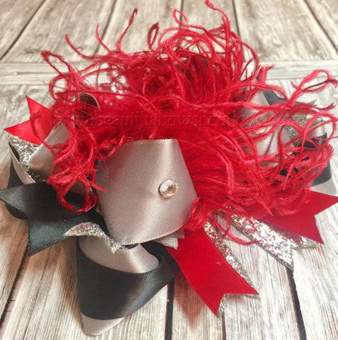 Fancy Black Red Silver Over the Top Hair Bow Headband for Babies