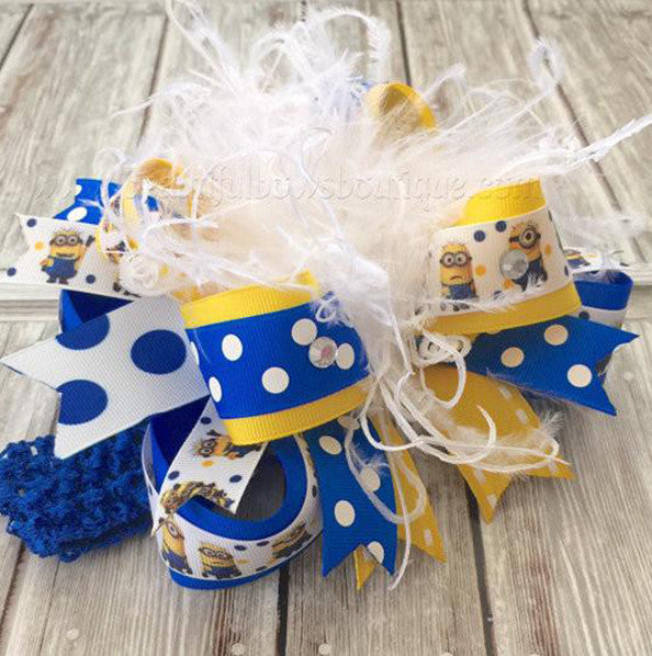 Minion Birthday Costume Hair Bow for Babies and Girls