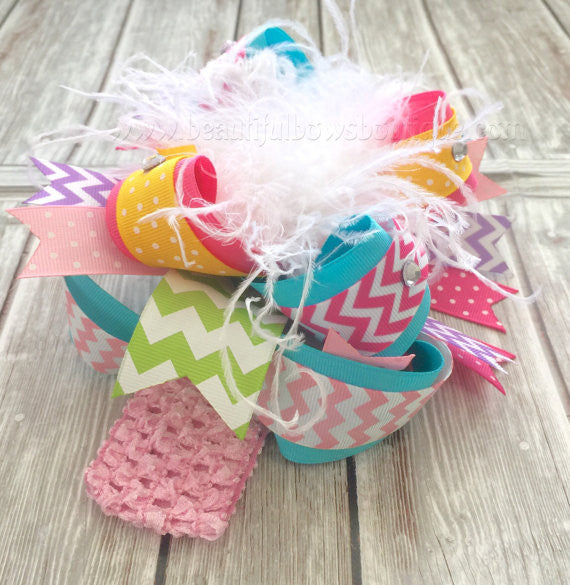 Buy Chevron Easter Pastel Over the Top Hair Bow Headband Online
