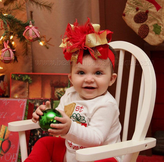 Big Red Gold Christmas Hair Bow for Girls