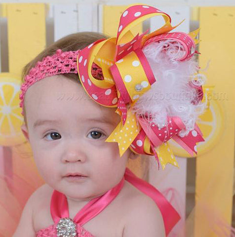 Yellow Pink Lemonade Birthday Hair Bow Headband