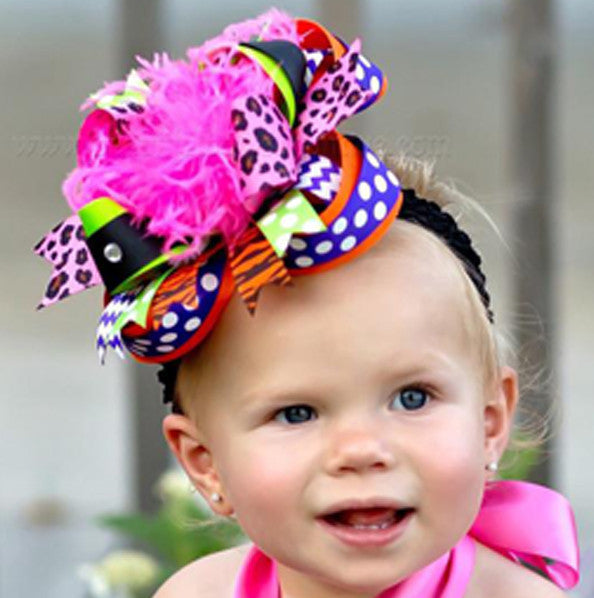 Fall Bright Halloween Big Boutique Hair Bow Headband