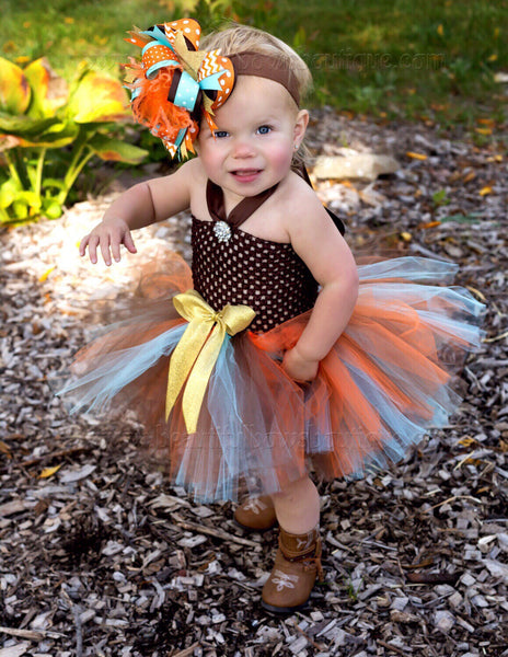 Fall Baby Tutu Dress Brown Aqua Orange Gold Toddler Tutu Dress