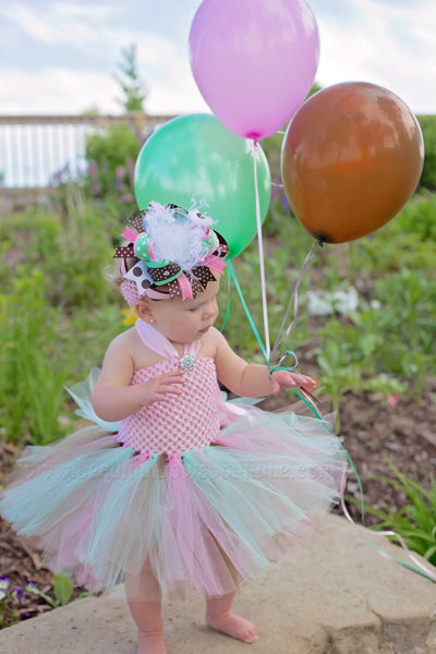 Fall Tutu Dress Pink Green and Brown